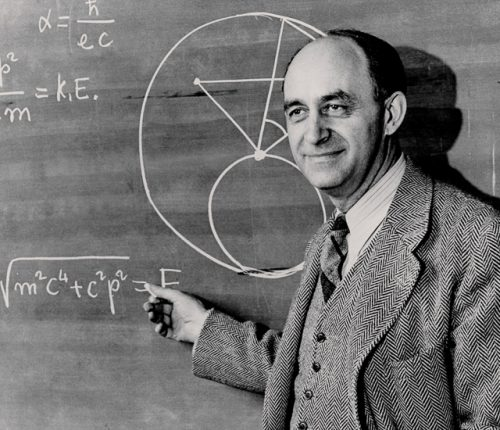 Enrico Fermi at the chalkboard