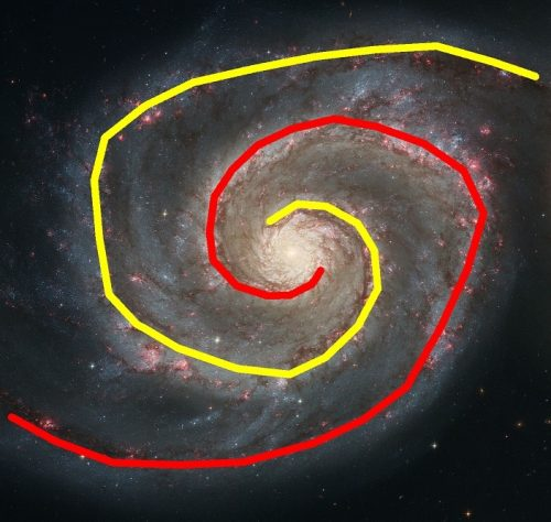 A galaxy with yellow and red lines swirling