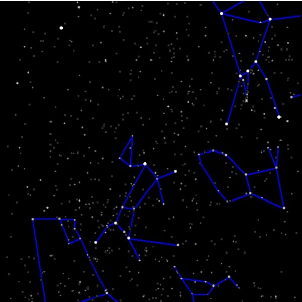 Night sky with constellations drawn in in blue