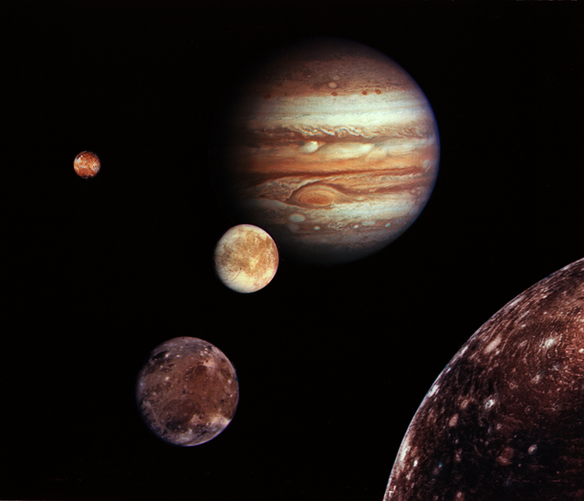 Jupiter and its four planet-size moons, called the Galilean satellites, were photographed in early March 1979 by Voyager 1 and assembled into this collage. They are not to scale but are in their relative positions. Credit: NASA/JPL.