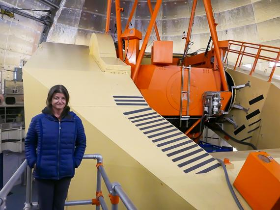 Rachel inside the IRTF telescope dome.