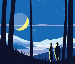 Illustration of two people in the forest looking at the sky.
