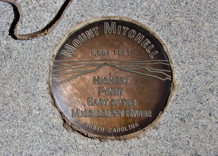 Survey marker from the top of Mt. Mitchell, the highest point east of the Mississippi