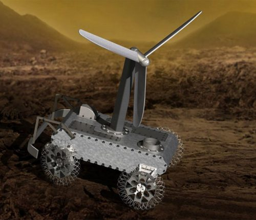 Illustration of a a concept for a possible wind-powered Venus rover.