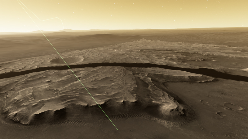 Projected landing trajectory (green line) for the Perseverance rover into Jezero Crater on Feb 18, 2021. A portion of the landing ellipse for Mars 2020 is shown as a broad band around the crater. Image rendered with real Mars mission data and star fields using OpenSpace software. Image: R. Smith.