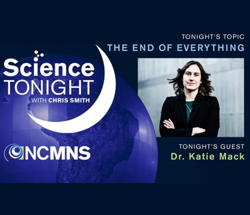 The Science Tonight logo with a crescent moon and a photo of the speaker