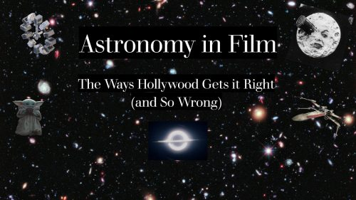 Astronomy images in space with the title of the program in white letters