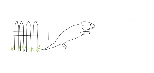 A drawing of a fence plus a lizard