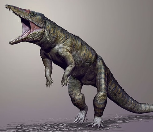 A dinosaur on its back legs with its alligator-like mouth open