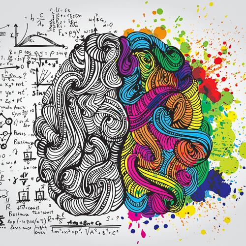 Illustration of logical and creative halves of human mind.