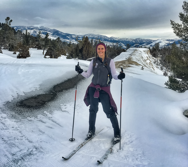 Melissa Dowland cross-country skiing in Yellowstone National Park.