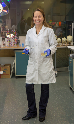 Julie in the Genomics and Microbiology Research Laboratory.