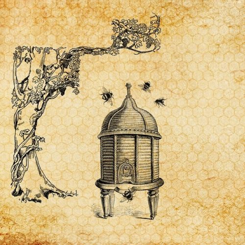 An illustration of an old-fashioned beehive