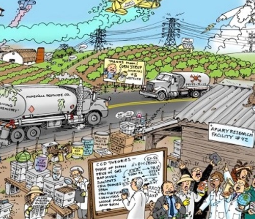 A busy scene with a tanker truck, crops, lots of people and pollution.