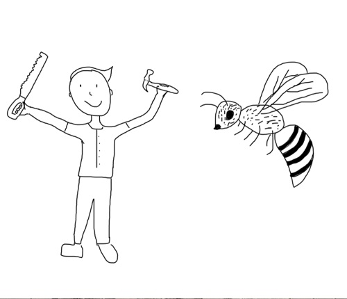 A line drawing a man with tools and a bee