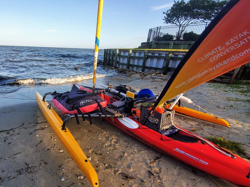 Will Freund's kayak on the beach.