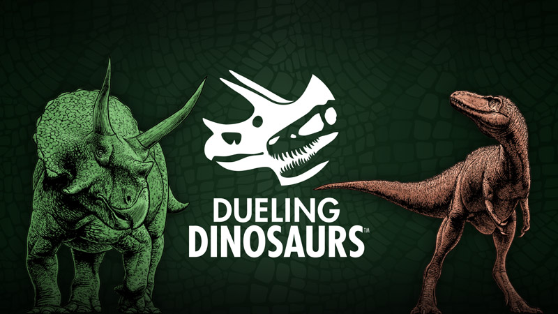 Dueling Dinosaurs logo: Triceratops on left, T. rex on right.