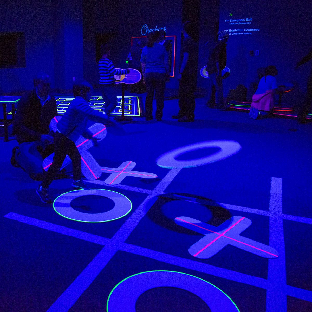 Enjoy shadow and fluorescence in the black light room.