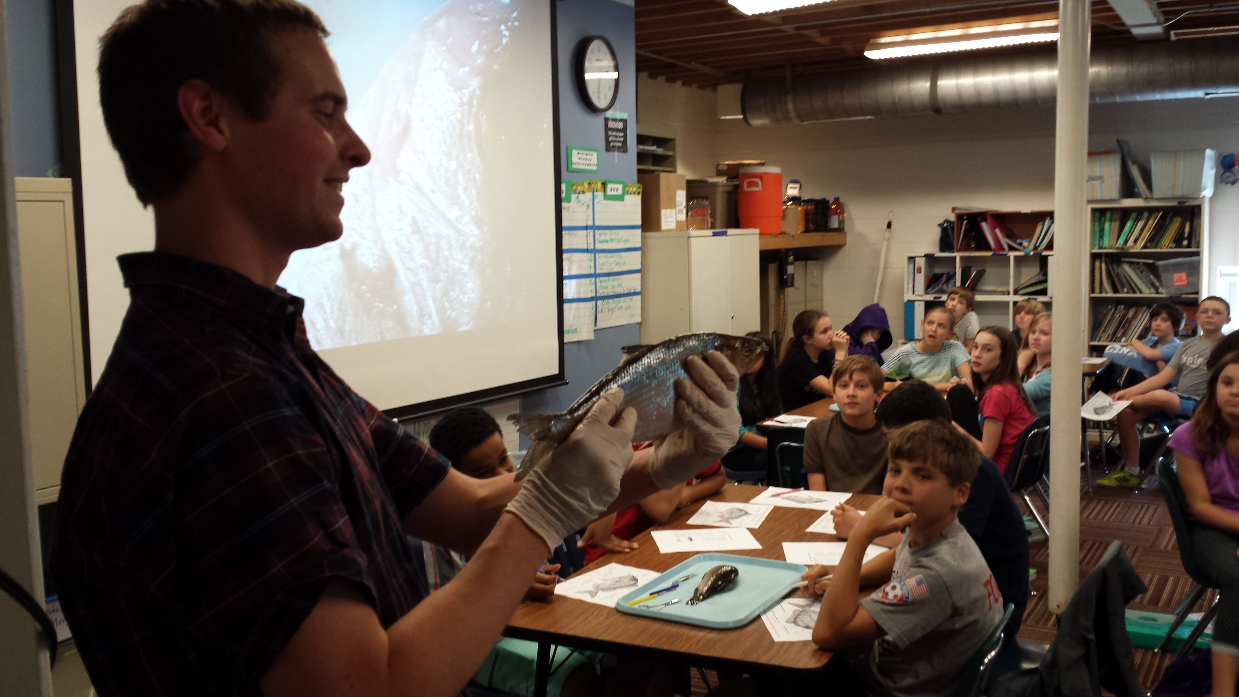 Dylan Owensby, NCSU graduate student fish anatomy lecture at Exploris Middle School