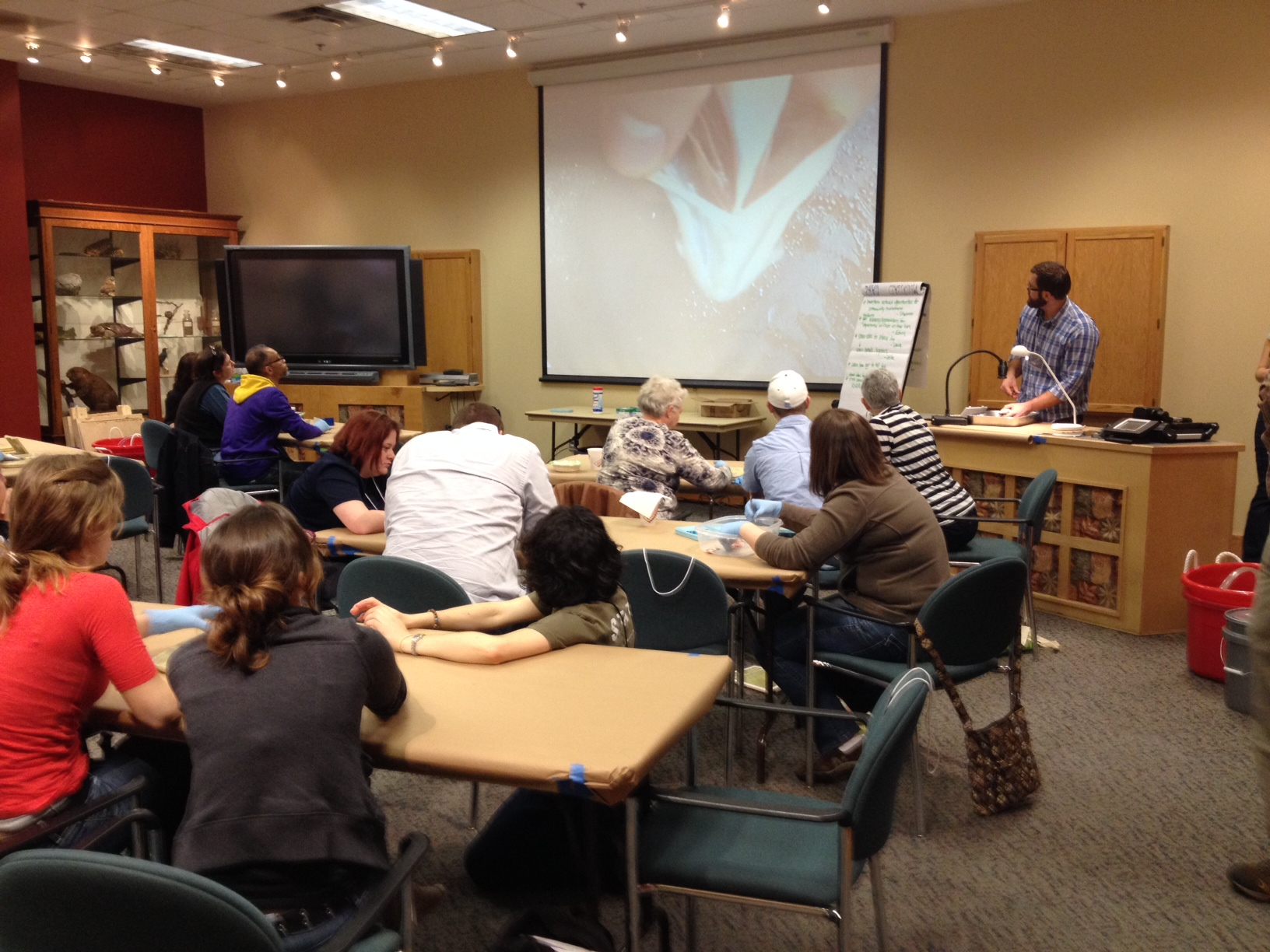 Jesse Fischer, NCSU Post-doc researcher fish anatomy lecture at teacher workshop