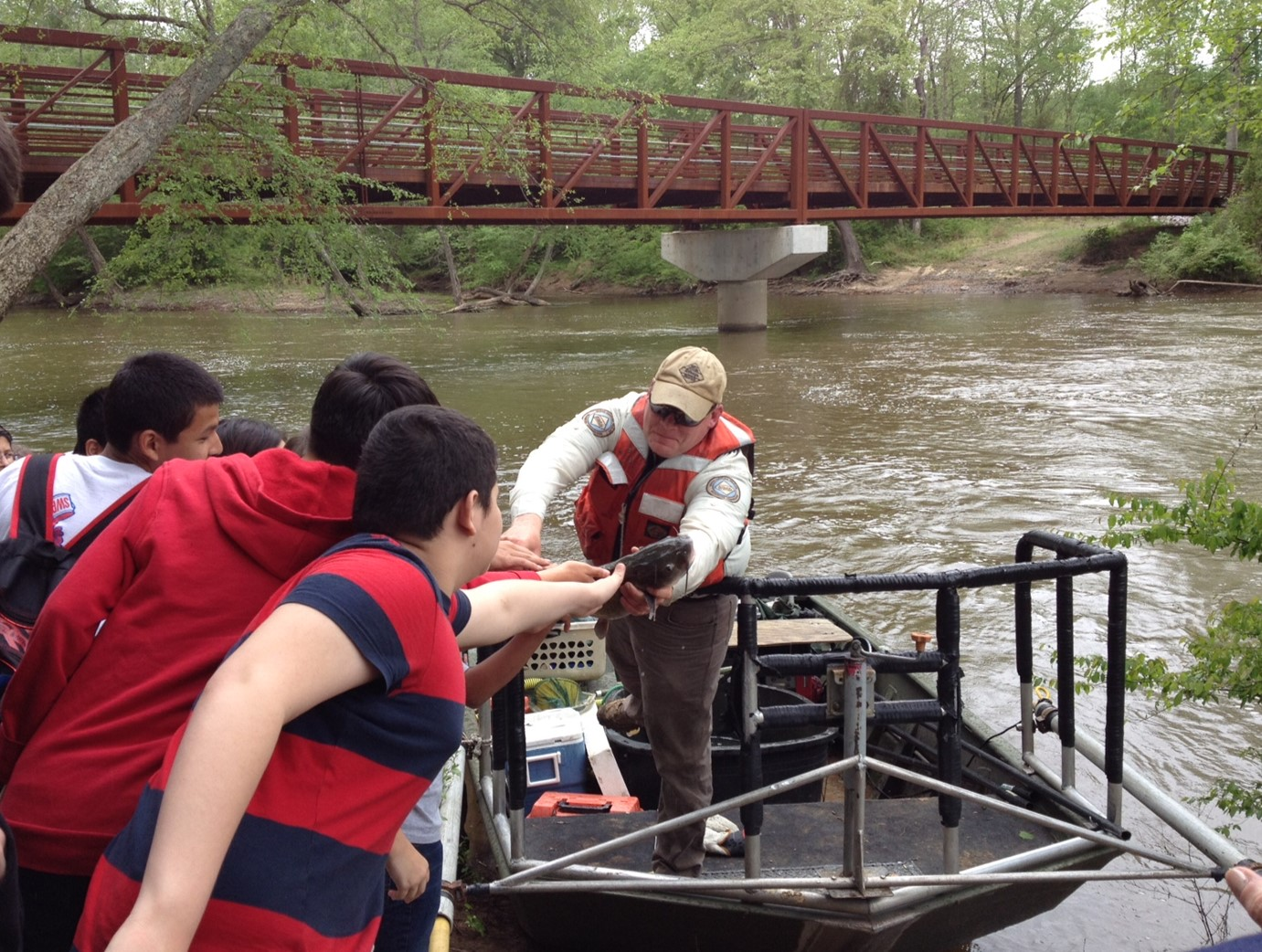 Ben Ricks, NCWRC District Biologist demonstrating boat electrofishing