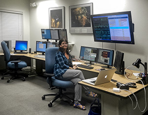 Dr. Smith in the Keck II control room at Keck Headquarters in Waimea, Hawaii, during a recent observing run.