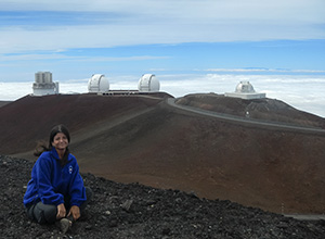 Dr. Smith on Mauna Kea, Keck I and II in background