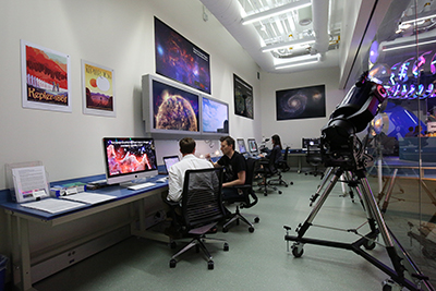 Students and staff inside the Astronomy & Astrophysics Research Lab.