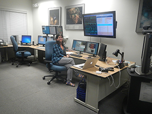 Dr. Smith in the Keck Observatory HQ control room in Waimea, during an observing run.